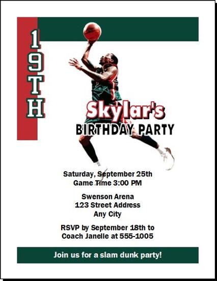 Milwaukee Bucks Colored Basketball Party Invitation