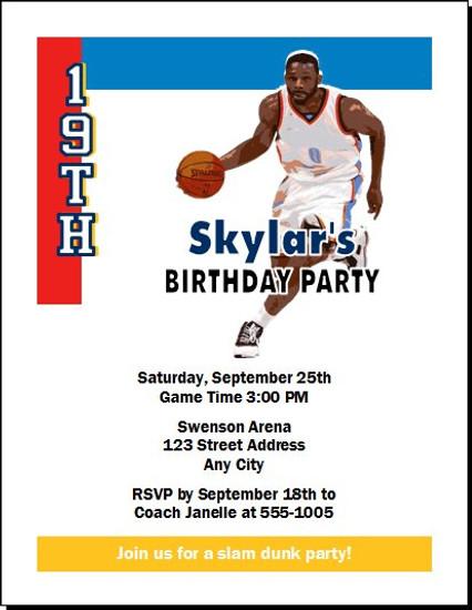 Oklahoma City Thunder Colored Basketball Party Invitation