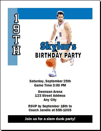 Orlando Magic Colored Basketball Party Invitation