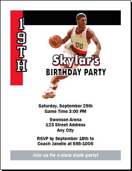 Portland Trailblazers Colored Basketball Party Invitation
