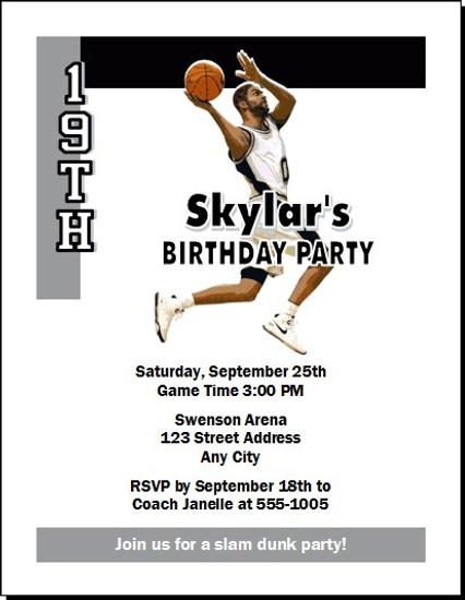 San Antonio Spurs Colored Basketball Party Invitation