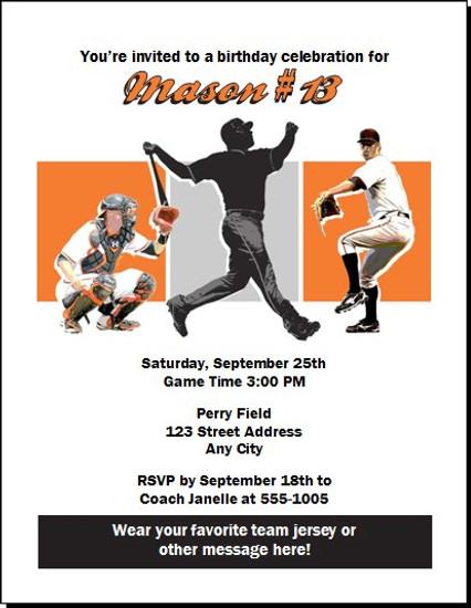 Baltimore Orioles Colored Birthday Party Invitation