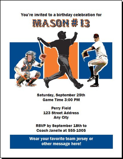 New York Mets Colored Birthday Party Invitation