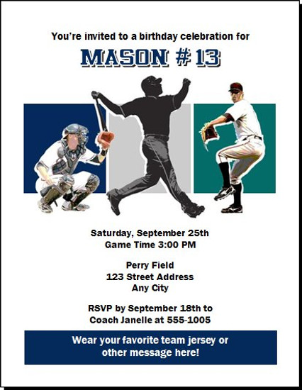 Seattle Mariners Colored Birthday Party Invitation