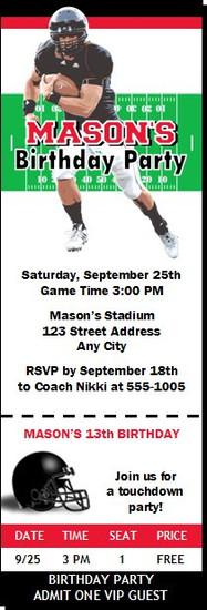 Cincinnati Bearcats Colored Football Ticket Invitaton