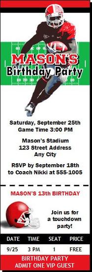 Georgia Bulldogs Colored Football Ticket Invitaton