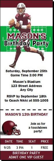 Mississippi State Bulldogs Colored Football Ticket Invitaton