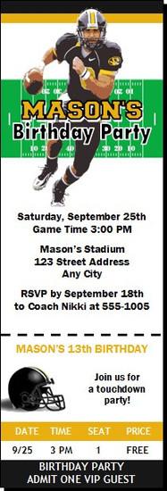Missouri Tigers Colored Football Ticket Invitaton