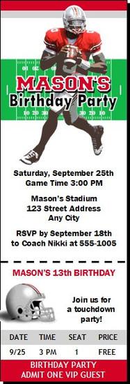 Ohio State Buckeyes Colored Football Ticket Invitaton