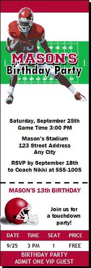 Oklahoma Sooners Colored Football Ticket Invitaton