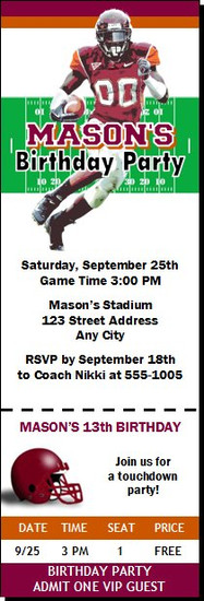 Virginia Tech Hokies Colored Football Ticket Invitation