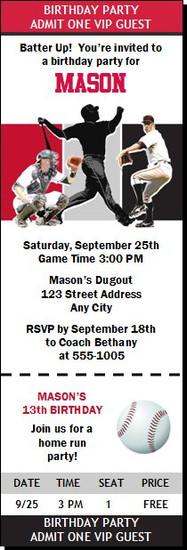Arizona Diamondbacks Colored Baseball Birthday Party Ticket Invitation