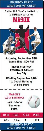 Atlanta Braves Colored Baseball Birthday Party Ticket Invitation
