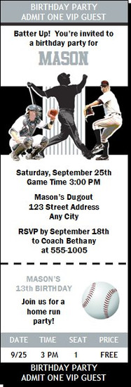 Chicago White Sox Colored Baseball Birthday Party Ticket Invitation