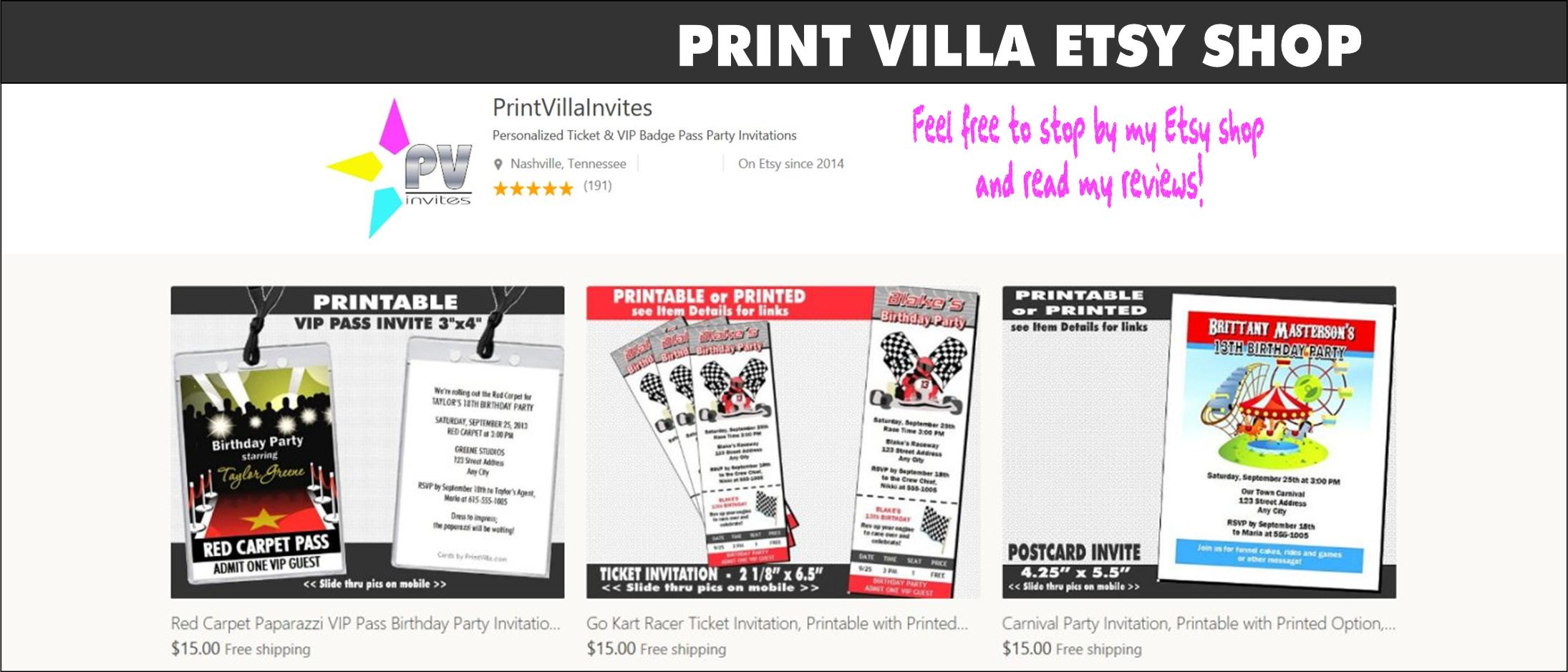 personalized party invitations from print villa