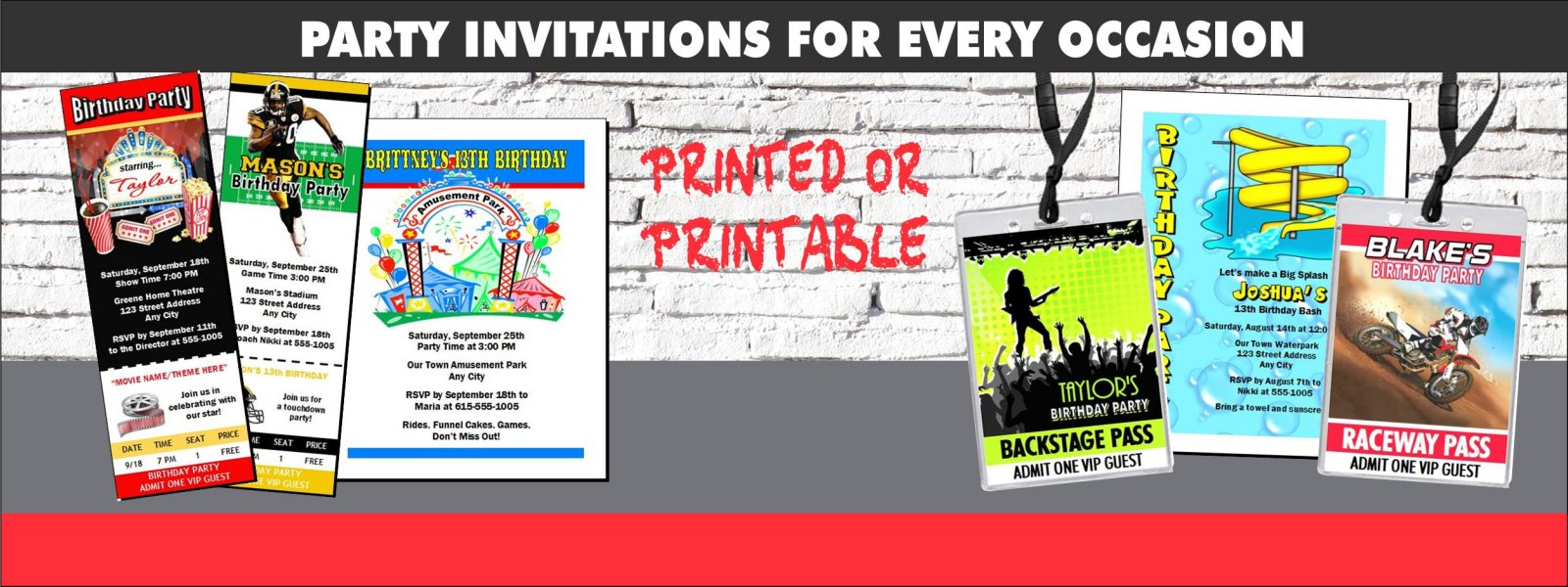 Printed or Printable Party Invitations Styles
