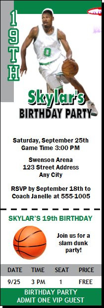 Boston Celtics Colored Basketball Party Ticket Invitation