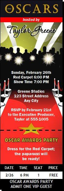 Oscar Awards Red Carpet Paparazzi Ticket Invitation