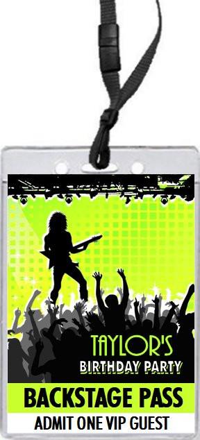 Concert Guitarist Male Birthday Party VIP Pass Invitation, Set of 12