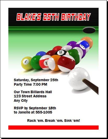 Billiards Birthday Party Invitation Set Of 12