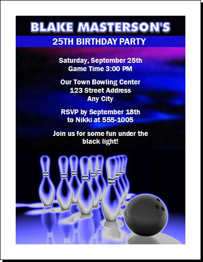 Bowling Cosmic Birthday Party Invitation Set Of 12
