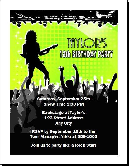 Concert Guitarist Male Birthday Party Invitation
