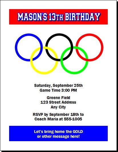 Olympic Rings Birthday Party Invitation