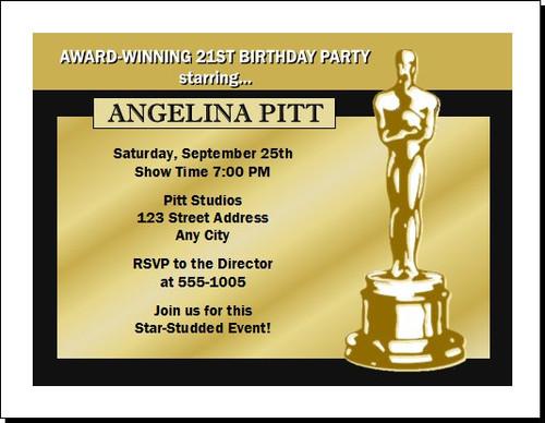 oscar awards golden birthday party invitation