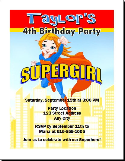 Supergirl Birthday Party Invitation
