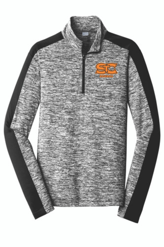 STC Baseball Heather Colorblock 1/4 Zip Pullover - Orange Logo