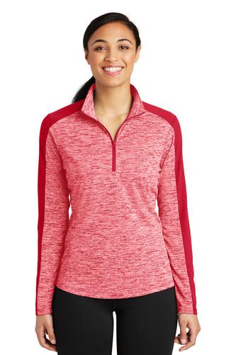 Sport-Tek Ladies PosiCharge Electric Heather Colorblock 1/4-Zip Pullover