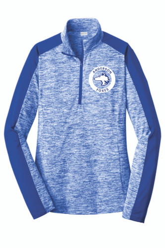 Anderson Elementary Ladies Electric Heather Colorblock 1/4-Zip Pullover