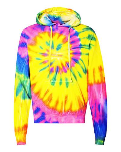 Dyenomite - Multi-Color Spiral Pullover Hooded Sweatshirt
