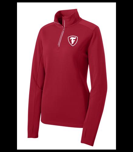 """Firestone Ladies Textured 1/4-Zip Pullover """"F"""" Shield"""