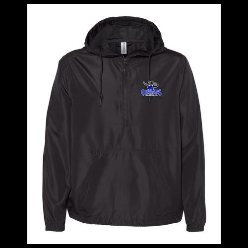 Outlaws Baseball Independent Trading Co. - Unisex Lightweight Quarter-Zip Windbreaker Pullover Jacket