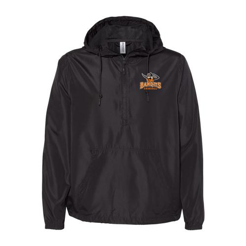 Bandits Baseball Independent Trading Co. - Unisex Lightweight Quarter-Zip Windbreaker Pullover Jacket