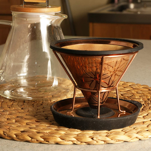 Titanium Coated Steel Reusable Cone Coffee Filter With Elegant Flower Of Life Patern