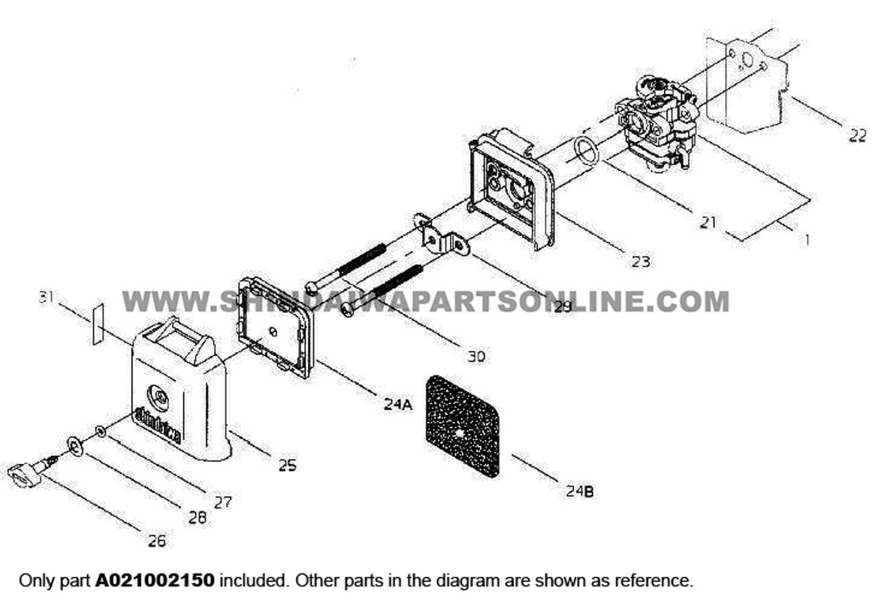 Parts lookup Shindaiwa T231 Carburetor A021002150 diagram