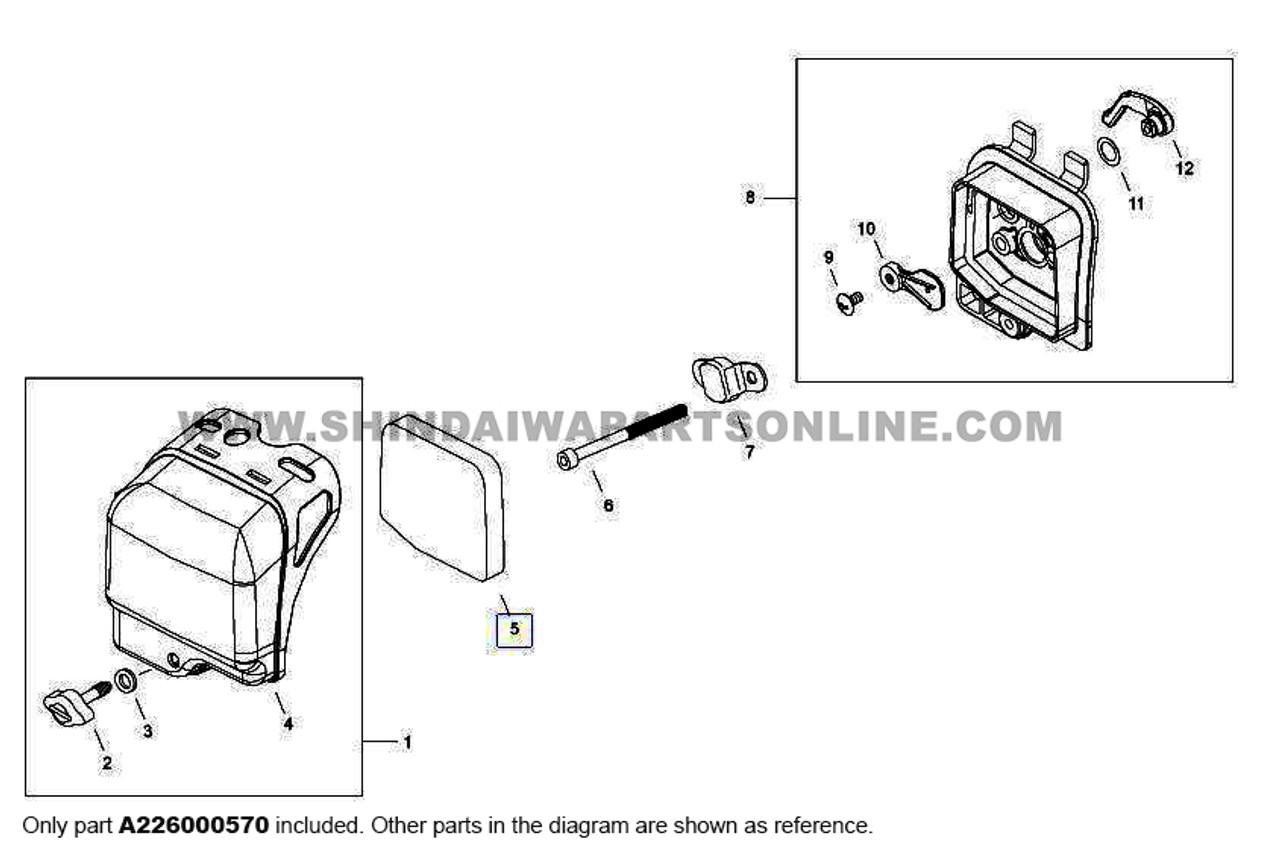 Parts lookup Shindaiwa T242 Air Filter A226000570 diagram