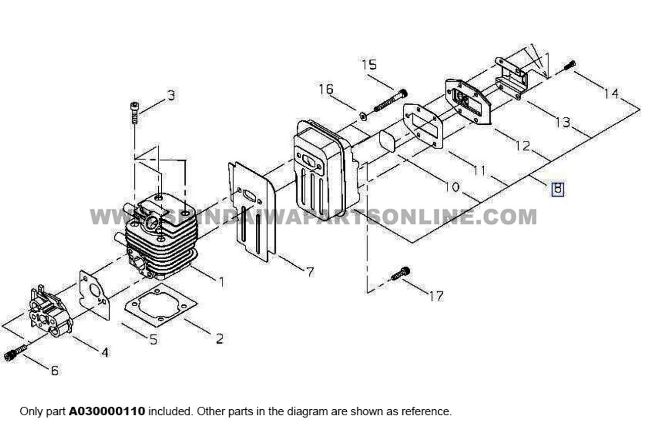 Parts lookup Shindaiwa T242 Muffler A030000110 diagram