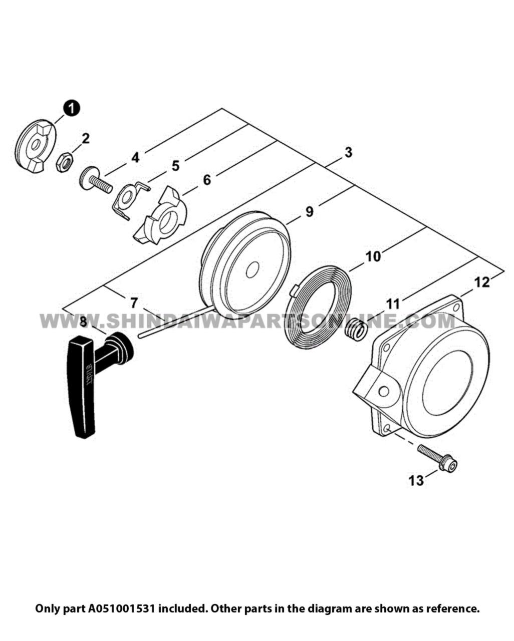 Parts lookup Shindaiwa EB802RT Starter A051001531 OEM diagram