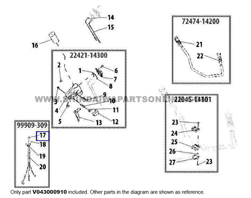 Parts lookup Shindaiwa T260 Throttle Cable V043000910 diagram