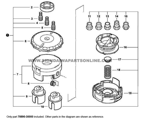 Parts lookup Shindaiwa T230 Trimmer Head 78890-30000 diagram
