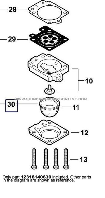 Parts lookup Shindaiwa T242 Primer Bulb 12318140630 diagram
