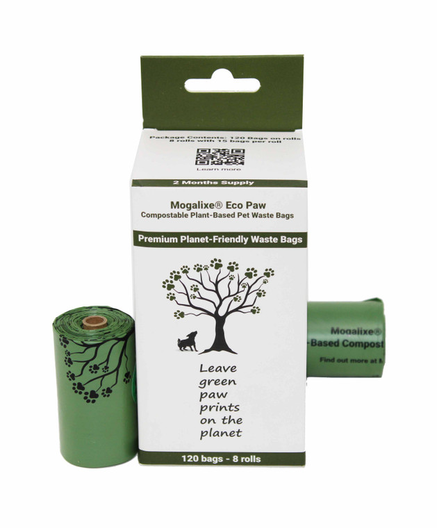 Mogalixe Eco Paw Waste Bags - Biodegradable Compostable Unscented Refill Rolls - Dog Pet Poop Bags - Earth Eco-Friendly -Home and Industrial Compost certified - Highest ASTM D6400 Rated - Guaranteed Leak Proof - Extra Thick - 120 Count - Large - Size: 9 x 13 Inches