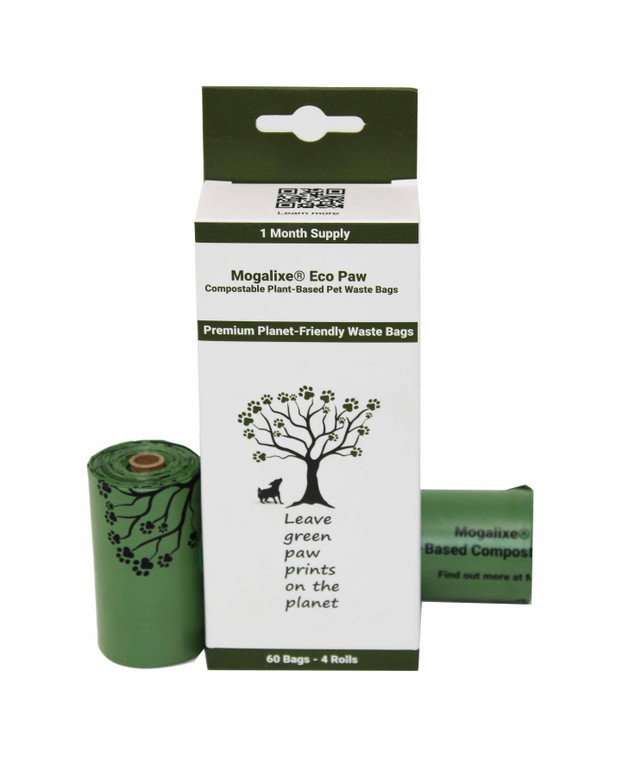 Mogalixe Eco Paw Waste Bags - Biodegradable Compostable Unscented Refill Rolls - Dog Pet Poop Bags - Earth Eco-Friendly -Home and Industrial Compost certified - Highest ASTM D6400 Rated - Guaranteed Leak Proof - Extra Thick - 60 Count - Large - Size:  9 x 13 Inches