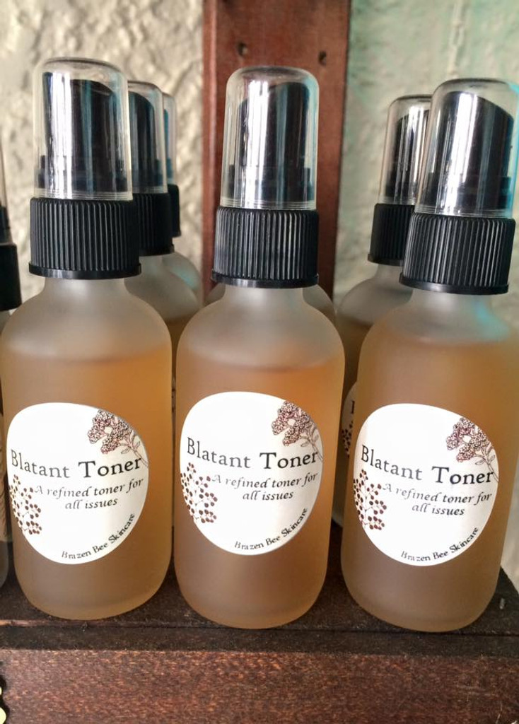 Blatant Toner: Brazen Bee Beauty, With Twin Springs water from Manitou Springs, Organic Aloe Vera, White Willow Bark, Cucumber.