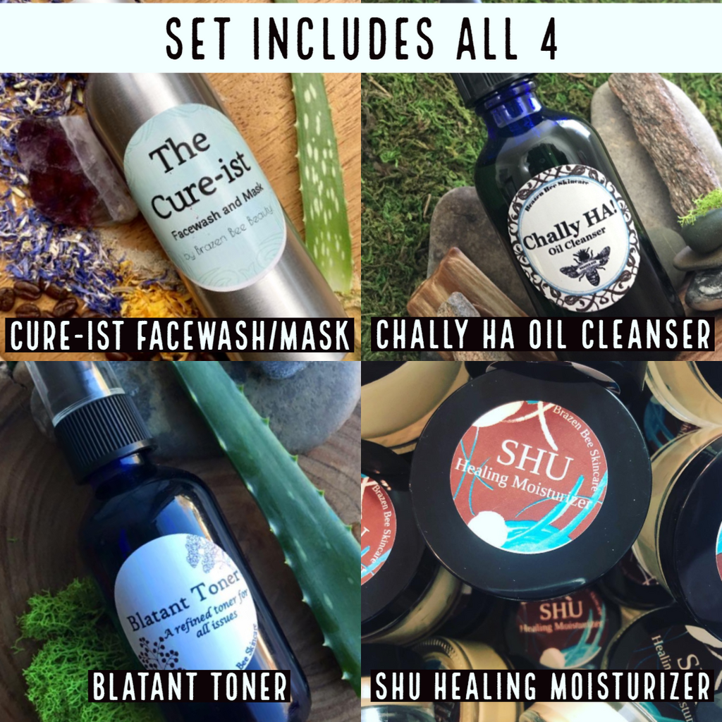 Set includes: Cure-ist Acne Facewash & Mask, Chally HA Makeup Remover & Cleanser, Blatant Toner and SHU Healing Moisturizer