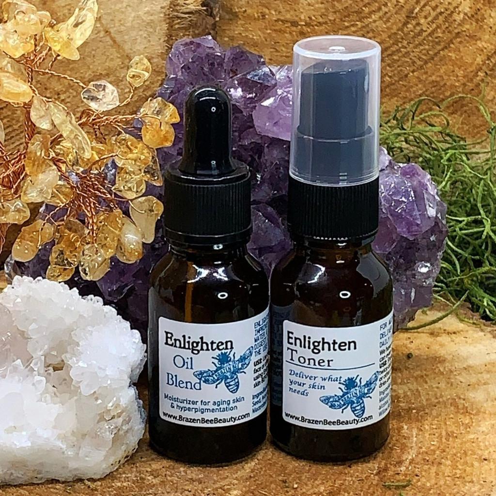 Our Enlighten Oil and Toner set: Usually $25 on it's own. https://brazenbeebeauty.com/enlighten-oil-enlighten-toner-mini-set/