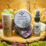 Eczema & Psoriasis Gift Set includes (1) 8-oz Chamomile Lavender Oat Body Scrub, (1) Full Size E-Stick, and (1) 1-oz Second Skin